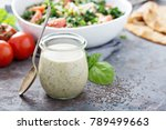 chia seed healthy ranch salad... | Shutterstock . vector #789499663