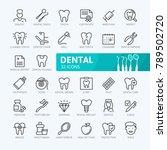dental elements   minimal thin... | Shutterstock .eps vector #789502720