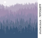 vector landscape with pine and... | Shutterstock .eps vector #789506899