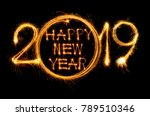 happy new year 2019 text... | Shutterstock . vector #789510346