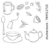 vector tea set  cups  teapot... | Shutterstock .eps vector #789511723