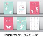 set of valentine's day card on... | Shutterstock .eps vector #789513604