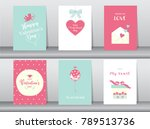 set of valentine's day card on... | Shutterstock .eps vector #789513736