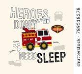 fire truck car  t  shirt | Shutterstock .eps vector #789518278