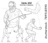 illustration of fencing sport.... | Shutterstock .eps vector #789518590