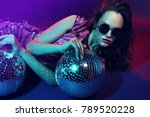 sexy disco party woman.... | Shutterstock . vector #789520228