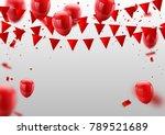 red white balloons  confetti... | Shutterstock .eps vector #789521689