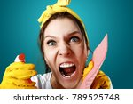 girl  housewife  cleaning woman ... | Shutterstock . vector #789525748