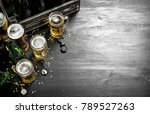 fresh beer in glasses and in an ... | Shutterstock . vector #789527263