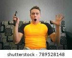 shocked and scared man is... | Shutterstock . vector #789528148