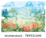 watercolor background.... | Shutterstock . vector #789531340