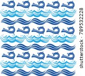 different blue shape waves... | Shutterstock .eps vector #789532228
