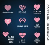 valentine's day icons with blue ... | Shutterstock .eps vector #789532720