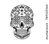 floral mexican sugar skull ... | Shutterstock .eps vector #789535564