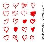 set of red grunge hearts.... | Shutterstock .eps vector #789539674