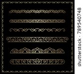 vector set of gold border... | Shutterstock .eps vector #789540748