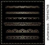 vector set of gold border... | Shutterstock .eps vector #789540748