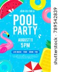 pool party invitation vector... | Shutterstock .eps vector #789542839