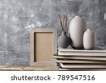 neutral colored vases  shabby... | Shutterstock . vector #789547516
