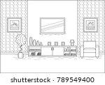 outline room interior. linear... | Shutterstock .eps vector #789549400