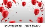 ed white balloons  confetti... | Shutterstock .eps vector #789550390