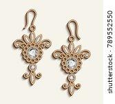 vintage gold jewelry earrings... | Shutterstock .eps vector #789552550