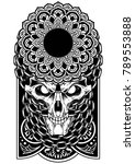 skull art chain vector dark... | Shutterstock .eps vector #789553888