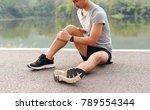 sport injury  a man has knee... | Shutterstock . vector #789554344