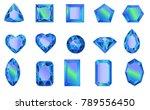 set of gems  diamonds of blue.... | Shutterstock .eps vector #789556450