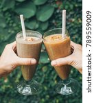 healthy smoothie drink with... | Shutterstock . vector #789559009