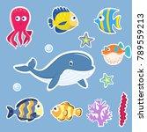 fish and marine animals cartoon ... | Shutterstock .eps vector #789559213
