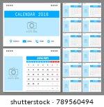 calendar for 2018 year. design... | Shutterstock .eps vector #789560494