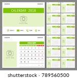 calendar for 2018 year. design... | Shutterstock .eps vector #789560500