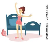 woman waking up and stertching... | Shutterstock .eps vector #789567133