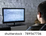 little boy watching lcd tv in a ... | Shutterstock . vector #789567736