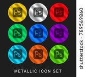 Photoshop 9 color metallic chromium icon or logo set including gold and silver