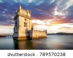 lisbon  belem tower at sunset ...