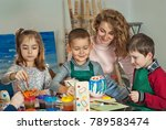 children draw at the table with ... | Shutterstock . vector #789583474