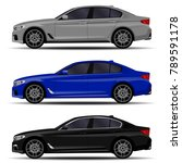 realistic car. sedan set. side... | Shutterstock .eps vector #789591178