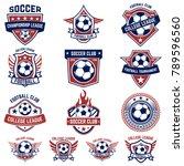 set of soccer  football emblems.... | Shutterstock .eps vector #789596560