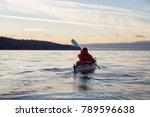 adventure man on a sea kayak is ... | Shutterstock . vector #789596638