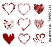 vector hearts. set for wedding...   Shutterstock .eps vector #789597166