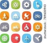 flat vector icon set   gear... | Shutterstock .eps vector #789600943