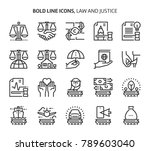 law and justice  bold line... | Shutterstock .eps vector #789603040