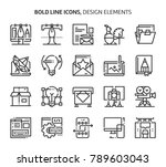 design elements  bold line... | Shutterstock .eps vector #789603043