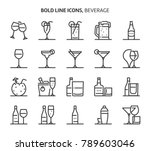beverage  bold line icons. the... | Shutterstock .eps vector #789603046