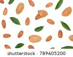 almonds with leaves isolated on ... | Shutterstock . vector #789605200