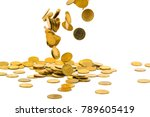 falling gold coins money... | Shutterstock . vector #789605419