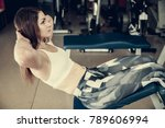 active young woman working out... | Shutterstock . vector #789606994