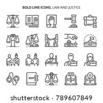 law and justice  bold line... | Shutterstock .eps vector #789607849